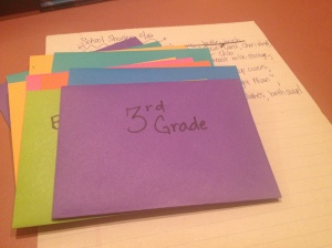 Thank you notes for school shower: done!